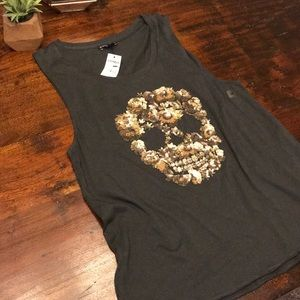 NWT Sequined Skull Muscle Tank
